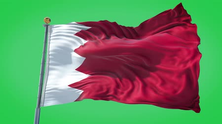 Bahrain animated flag in the wind with blue sky in the background, green screen, blue screen or isolated background and the flag on the full background, all in one animated flag pack. Dostupné videozáznamy