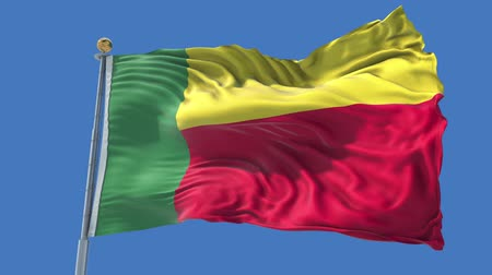 Benin animated flag in the wind with blue sky in the background, green screen, blue screen or isolated background and the flag on the full background, all in one animated flag pack.