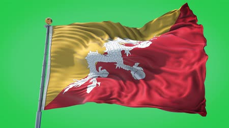Bhutan animated flag in the wind with blue sky in the background, green screen, blue screen or isolated background and the flag on the full background, all in one animated flag pack.