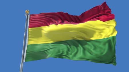 Bolivia animated flag in the wind with blue sky in the background, green screen, blue screen or isolated background and the flag on the full background, all in one animated flag pack. Stock Footage