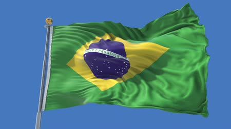 Brazil animated flag in the wind with blue sky in the background, green screen, blue screen or isolated background and the flag on the full background, all in one animated flag pack. Stock Footage