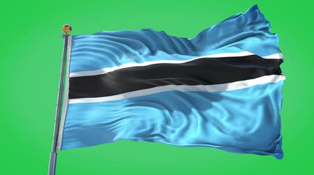 Botswana  animated flag in the wind with blue sky in the background, green screen, blue screen or isolated background and the flag on the full background, all in one animated flag pack.