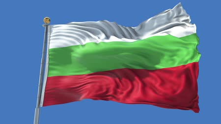 Bulgaria animated flag in the wind with blue sky in the background, green screen, blue screen or isolated background and the flag on the full background, all in one animated flag pack.
