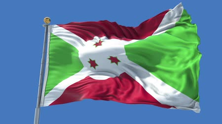 Burundi animated flag in the wind with blue sky in the background, green screen, blue screen or isolated background and the flag on the full background, all in one animated flag pack. Stock Footage