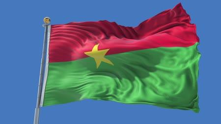 Burkina Faso animated flag in the wind with blue sky in the background, green screen, blue screen or isolated background and the flag on the full background, all in one animated flag pack.