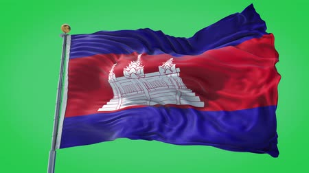 Cambodia animated flag in the wind with blue sky in the background, green screen, blue screen or isolated background and the flag on the full background, all in one animated flag pack.