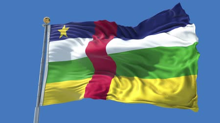 Central African Republic animated flag in the wind with blue sky in the background, green screen, blue screen or isolated background and the flag on the full background, all in one animated flag pack.