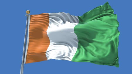 d day : Cote d Ivoire animated flag in the wind with blue sky in the background, green screen, blue screen or isolated background and athe flag on the full background, all in one animated flag pack.