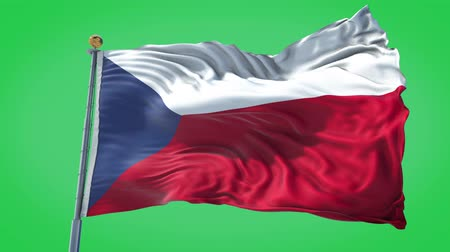 Czech Republic animated flag in the wind with blue sky in the background, green screen, blue screen or isolated background and the flag on the full background, all in one animated flag pack.