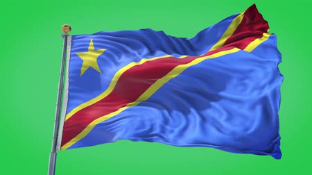 Democratic Republic of Congo animated flag in the wind with blue sky in the background, green screen, blue screen or isolated background and the flag on the full background, all in one animated flag pack. Dostupné videozáznamy