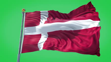 Denmark animated flag in the wind with blue sky in the background, green screen, blue screen or isolated background and the flag on the full background, all in one animated flag pack. Stock Footage