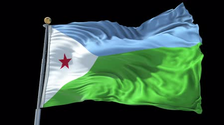 Djibouti animated flag in the wind with blue sky in the background, green screen, blue screen or isolated background and the flag on the full background, all in one animated flag pack. Stock Footage