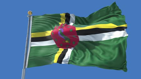 Dominica animated flag in the wind with blue sky in the background, green screen, blue screen or isolated background and the flag on the full background, all in one animated flag pack. Stock Footage