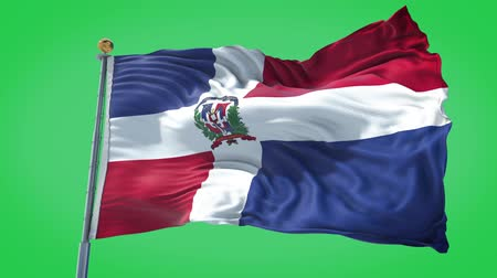 Dominican Republic animated flag in the wind with blue sky in the background, green screen, blue screen or isolated background and the flag on the full background, all in one animated flag pack. Stock Footage