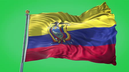 Ecuador animated flag in the wind with blue sky in the background, green screen, blue screen or isolated background and the flag on the full background, all in one animated flag pack. Stock Footage