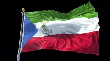 Equatorial Guinea animated flag in the wind with blue sky in the background, green screen, blue screen or isolated background and the flag on the full background, all in one animated flag pack.