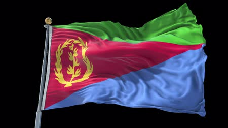 Eritrea animated flag in the wind with blue sky in the background, green screen, blue screen or isolated background and the flag on the full background, all in one animated flag pack.