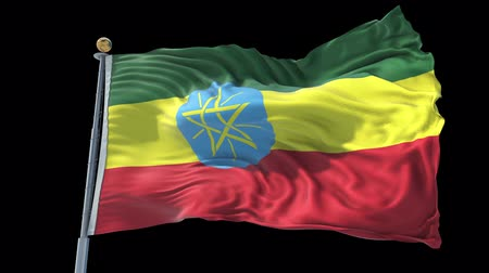 Ethiopia animated flag in the wind with blue sky in the background, green screen, blue screen or isolated background and the flag on the full background, all in one animated flag pack.
