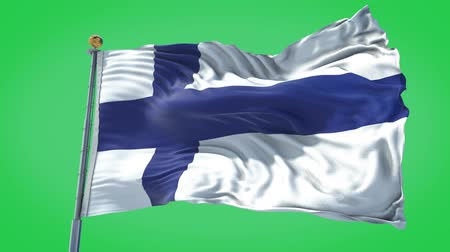 Finland animated flag in the wind with blue sky in the background, green screen, blue screen or isolated background and the flag on the full background, all in one animated flag pack.