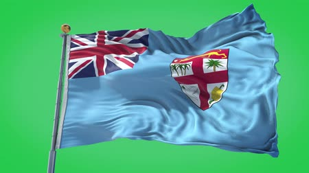Fiji animated flag in the wind with blue sky in the background, green screen, blue screen or isolated background and the flag on the full background, all in one animated flag pack.