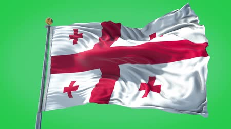 Georgia animated flag in the wind with blue sky in the background, green screen, blue screen or isolated background and the flag on the full background, all in one animated flag pack.