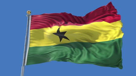 Ghana animated flag in the wind with blue sky in the background, green screen, blue screen or isolated background and the flag on the full background, all in one animated flag pack. Stock Footage