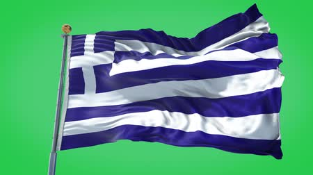 Greece animated flag in the wind with blue sky in the background, green screen, blue screen or isolated background and the flag on the full background, all in one animated flag pack.