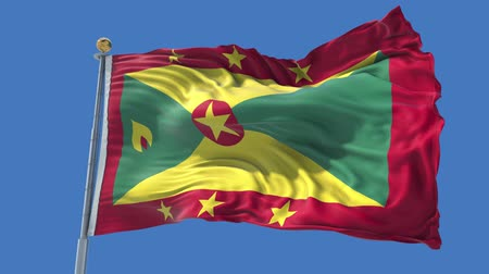 Grenada animated flag in the wind with blue sky in the background, green screen, blue screen or isolated background and the flag on the full background, all in one animated flag pack. Stock Footage
