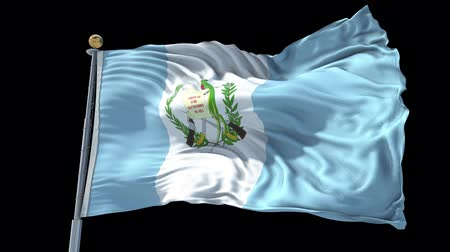 Guatemala animated flag in the wind with blue sky in the background, green screen, blue screen or isolated background and the flag on the full background, all in one animated flag pack. Stock Footage