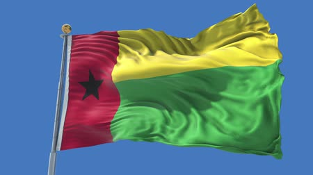 Guinea Bissau animated flag in the wind with blue sky in the background, green screen, blue screen or isolated background and the flag on the full background, all in one animated flag pack.