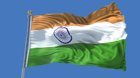 India animated flag in the wind with blue sky in the background, green screen, blue screen or isolated background and the flag on the full background, all in one animated flag pack.