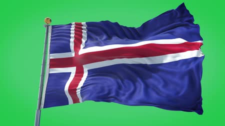 Iceland animated flag in the wind with blue sky in the background, green screen, blue screen or isolated background and the flag on the full background, all in one animated flag pack. Stock Footage
