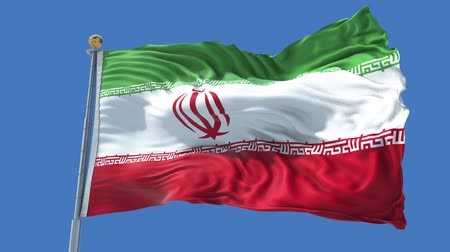 Iran animated flag in the wind with blue sky in the background, green screen, blue screen or isolated background and the flag on the full background, all in one animated flag pack. Stock Footage