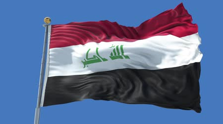 Iraq animated flag in the wind with blue sky in the background, green screen, blue screen or isolated background and the flag on the full background, all in one animated flag pack.