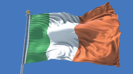 Ireland animated flag in the wind with blue sky in the background, green screen, blue screen or isolated background and the flag on the full background, all in one animated flag pack.