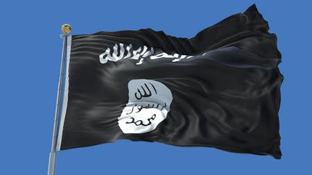 isis : ISIS Islamic State animated flag in the wind with blue sky in the background, green screen, blue screen or isolated background and the flag on the full background, all in one animated flag pack. Stock Footage