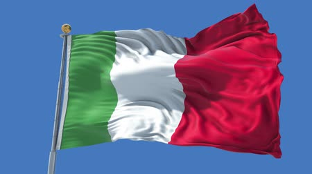 Italy animated flag in the wind with blue sky in the background, green screen, blue screen or isolated background and the flag on the full background, all in one animated flag pack. Stock Footage