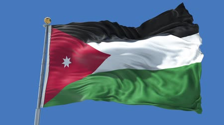 Jordan animated flag in the wind with blue sky in the background, green screen, blue screen or isolated background and the flag on the full background, all in one animated flag pack.
