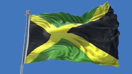 Jamaica animated flag in the wind with blue sky in the background, green screen, blue screen or isolated background and the flag on the full background, all in one animated flag pack.