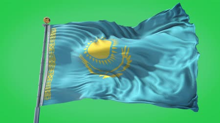 Kazakhstan animated flag in the wind with blue sky in the background, green screen, blue screen or isolated background and the flag on the full background, all in one animated flag pack. Dostupné videozáznamy