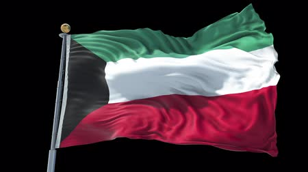 Kuwait animated flag in the wind with blue sky in the background, green screen, blue screen or isolated background and the flag on the full background, all in one animated flag pack.