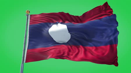 Laos animated flag in the wind with blue sky in the background, green screen, blue screen or isolated background and the flag on the full background, all in one animated flag pack.