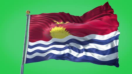 Kiribati animated flag in the wind with blue sky in the background, green screen, blue screen or isolated background and the flag on the full background, all in one animated flag pack.