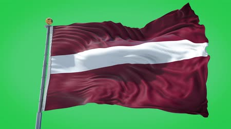 Latvia animated flag in the wind with blue sky in the background, green screen, blue screen or isolated background and the flag on the full background, all in one animated flag pack.