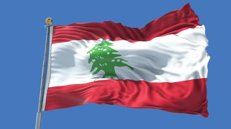 Lebanon animated flag in the wind with blue sky in the background, green screen, blue screen or isolated background and the flag on the full background, all in one animated flag pack.