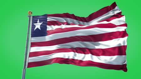 Liberia animated flag in the wind with blue sky in the background, green screen, blue screen or isolated background and the flag on the full background, all in one animated flag pack.