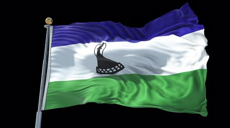 Lesotho animated flag in the wind with blue sky in the background, green screen, blue screen or isolated background and the flag on the full background, all in one animated flag pack. Stock Footage