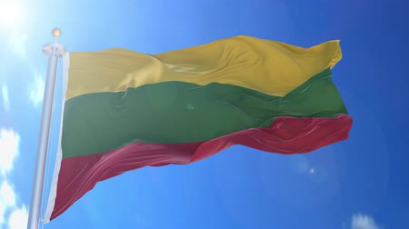 Lithuania animated flag in the wind with blue sky in the background, green screen, blue screen or isolated background and the flag on the full background, all in one animated flag pack.