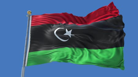 libya : Libya animated flag in the wind with blue sky in the background, green screen, blue screen or isolated background and the flag on the full background, all in one animated flag pack.