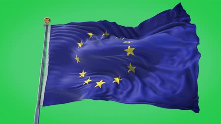 all european flags : European Union animated flag in the wind with blue sky in the background, green screen background and the flag on the full background, all in one animated flag pack.